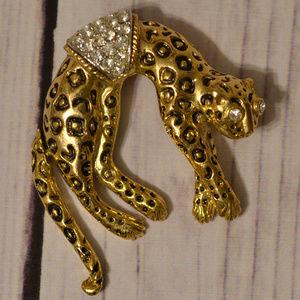 vintage gold big cat pin brooch rhinestone leopard